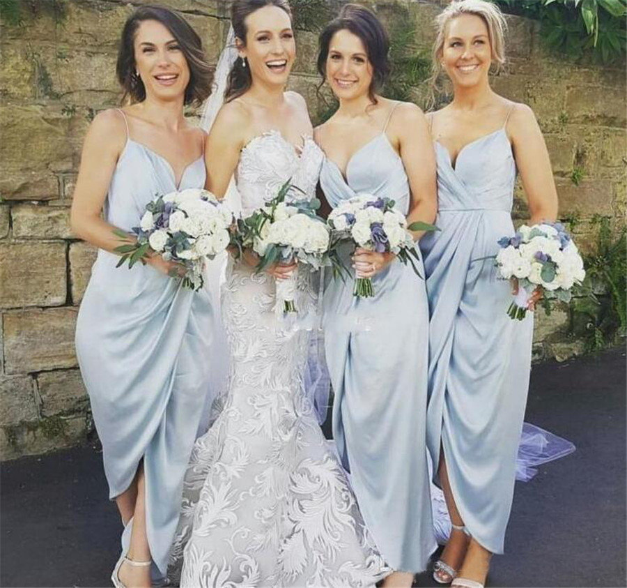 Sexy Summer   Bridesmaid     Dresses   Spaghetti Strap Side Split Pleat Satin Mint Blue Wedding Party Gowns 2019 Vestido De Festa Cheap