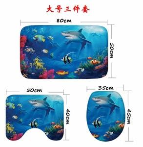 Image 3 - Cammitever 3pcs 욕실 목욕 매트 상어 거북이 깔개 가정용 욕실 슬립 매트 뚜껑 화장실 커버 액세서리