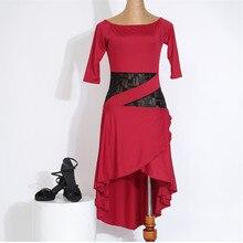 sexy professional woman lace splcing latin dress female hot sale black/red/blue tango/rumba dance practice one-piece dress