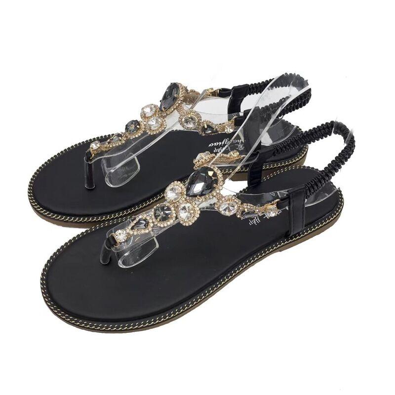2018 zomer vrouw open teen lederen platte sandalen strand strass - Damesschoenen
