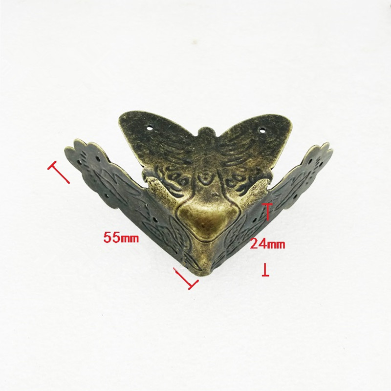 Bronze Tone Furniture Corners,Triangle Corner,Anceient Vintage Flower Wine Gift Box Furniture Cover,Butterfly Protector Decor