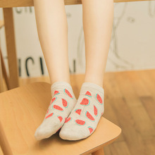 New Style Cut Fruit Female Striped Pattern Women Cotton Sock Tube Breathable Ankle Socks Mujer Casual Hosiery Printed Sock