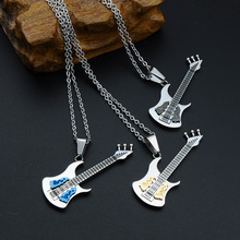 MCSAYS Punk Jewelry Stainless Steel Music Cool Guitar Pendant Box Chain Musical Necklace Biker Jewelry Best Gifts for Singer MJ