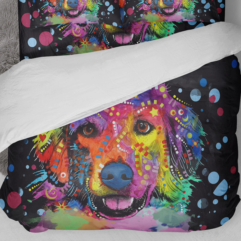Wongsbedding HD Print Dog Bedding Set Duvet Cover Bed Sheet Twin Full Queen King Size 3PCS in Bedding Sets from Home Garden