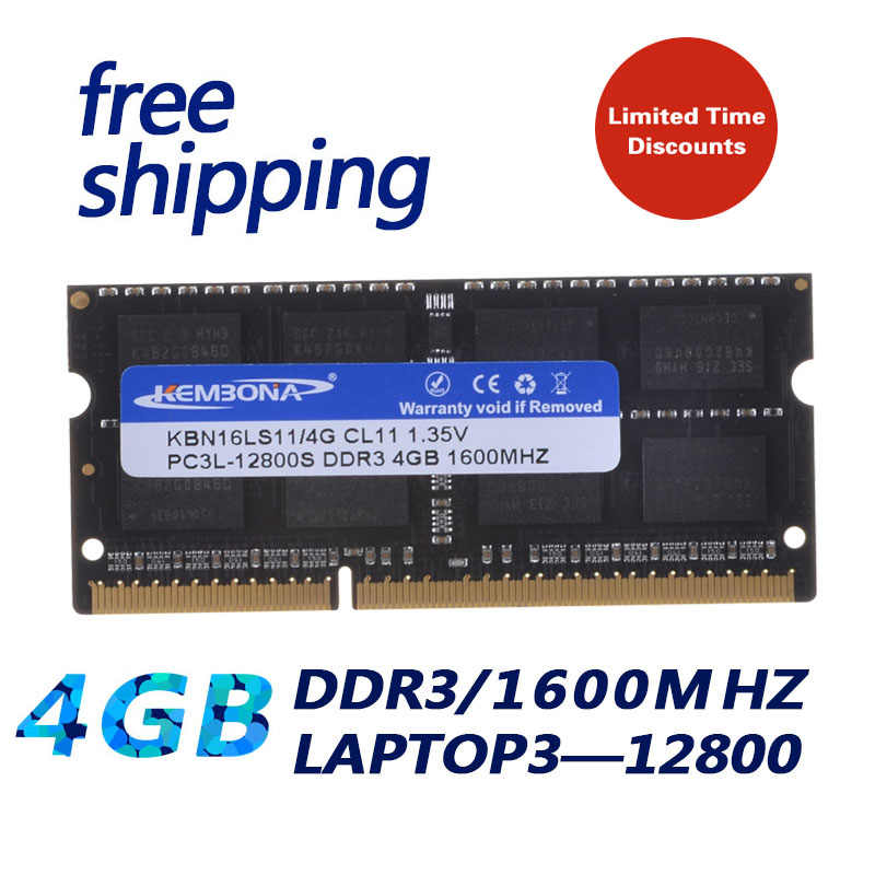 Kembona computador portátil sodimm ddr3 4gb 1600mhz pc3l 1.35 v pc12800 204pin sodimm trabalho para toda a placa-mãe