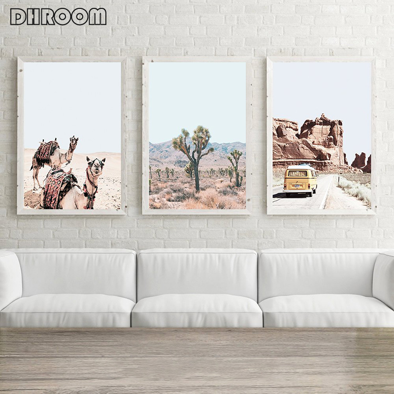 Desert Inspired Accent Wall: Desert Camel Wall Art Print Boho Style Canvas Poster