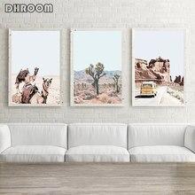 Affiche murale en toile avec motif de chameau du désert, Style Boho, peinture décorative, décor de maison