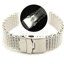 22mm Ancho de Banda de Malla de Acero Inoxidable Correa de Reloj de Pulsera Para Hombre Pliegue sobre cierre de seguridad y pulsador
