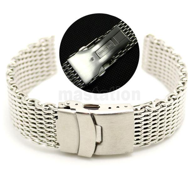 Prix pour 22mm Largeur De Bande En Acier Inoxydable Maille Bracelet Bracelet Hommes boucle déployante avec sécurité et bouton-poussoir