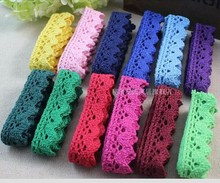Colorful Cotton Lace Handmade Crafting ,DIY Patchwork Knitting Decoration Trimming 1.6cm Width 5 yard