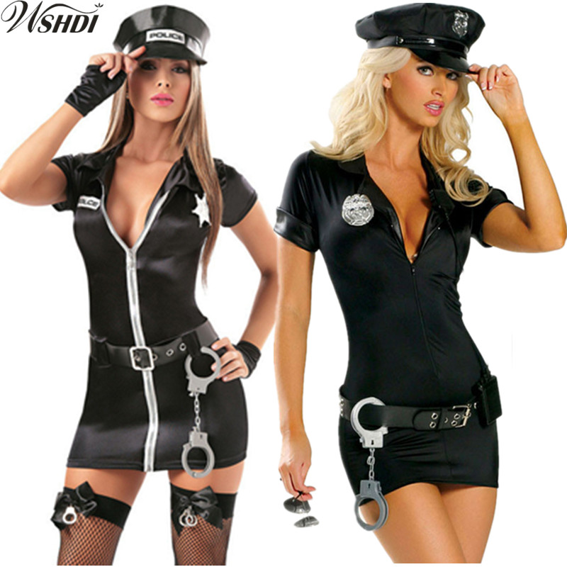 S-3XL Adult Women Black Short Sleeve Zipper Cop Officer Mini Dress Sexy Female Traffic Police Uniform Halloween Cosplay Costume