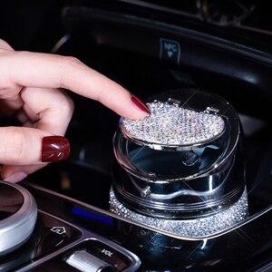 Image 5 - Cenicero de diamante hecho a mano para coche, Cenicero portátil sin humo, soporte Universal para cigarrillos, accesorios para coche