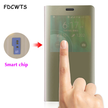 Flip Mirror Cover Phone Case For Samsung Galaxy Note 4 Note4 Galaxz SM N910 N910F N910C N9100 SM-N910F SM-N910C Smart View Chip