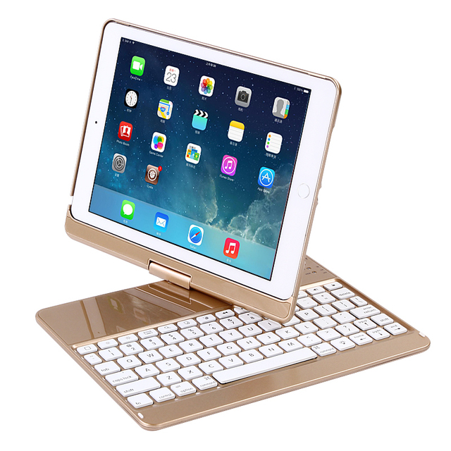 For IPAD AIR 9.7'' 360 Degree Rotation Keyboard Case Smart