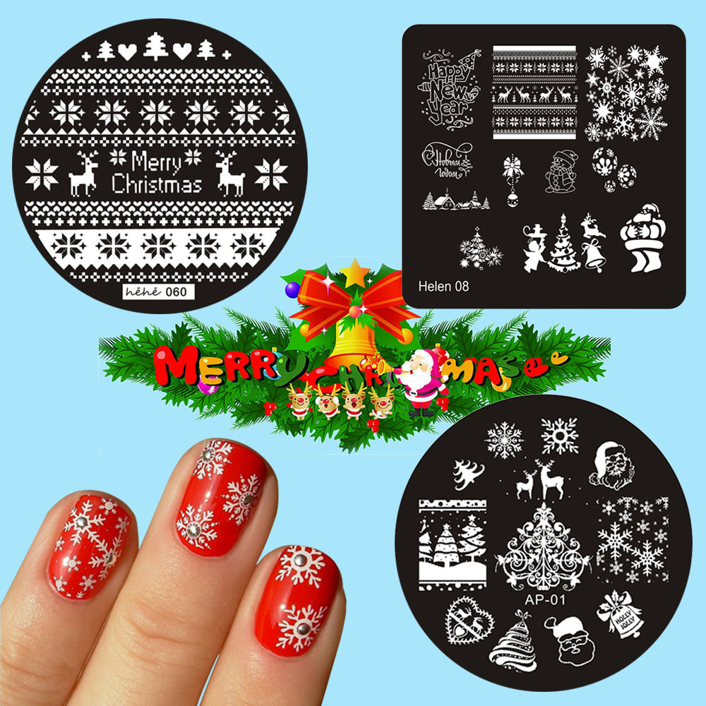 1 Pc Christmas Element Stamping Plate 3 Kind For Choice Heart Nail Stamping Template Manicure Nail Art Plates in Nail Art Templates from Beauty Health