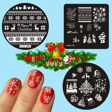 Placa de estampado de elemento navideño, 3 tipos para elegir, estampado de uñas con corazón, plantilla de manicura placas de arte para uñas, 1 ud.