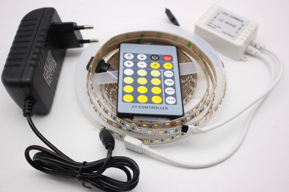 5m Dual Color 2835/3528 SMD CCT Color Temperature Adjustable & Dimmable LED Strip tape Light + remote controller + power adapter