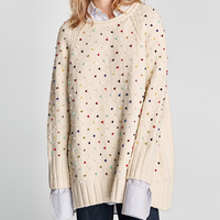 Autumn Pullover Loose Sweater Women Thick Top Jumper Female Beading Long Sleeve Knitted Sweaters 2018 Women Pullover Sweater