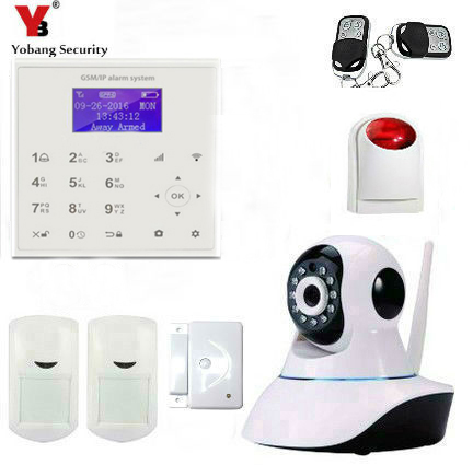 YobangSecurity Wireless Wifi Gsm Home Security Alarm System Kit with Auto Dial Door Sensor Wireless Siren Indoor Video IP Camera etiger s3b etiger gsm sms alarm system solar power siren indoor siren ip camera super kit as same as chuango g5