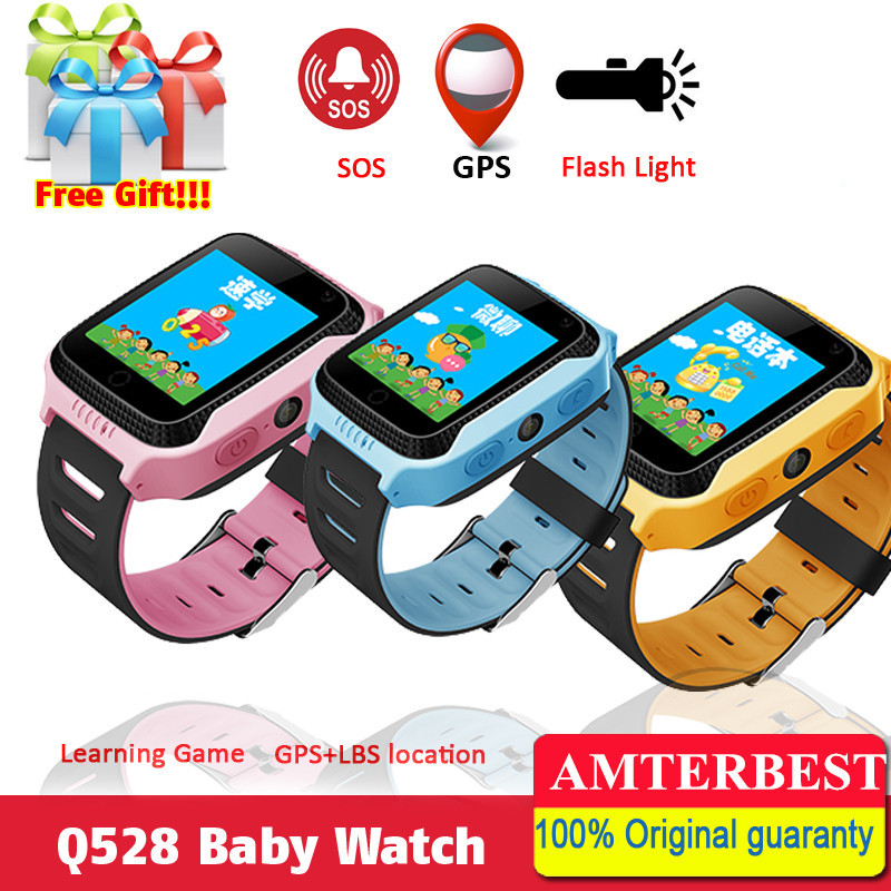 AMTERBEST Q528 Touch Screen GPS Children Kids Smart Watch with Lighting Phone Location SOS Call Remote Monitor PK Q90 Q80