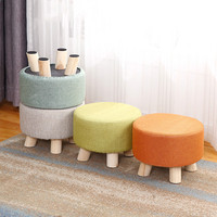 Fabrics round stool wooden home adult children sofa small low chair Ottomans modern fashion change shoes bench mx7081715
