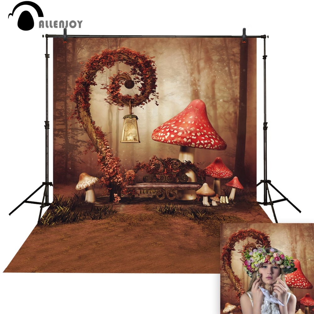 Foto di sfondo Allenjoy Red Mushroom Fairy Wonderland Cute baby photo booth Sfondo per studio fotografico fotografia di sfondo