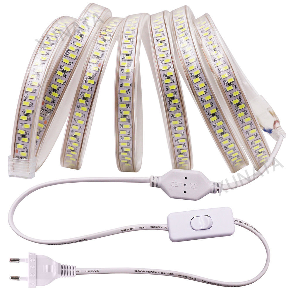 SMD 5730 AC220V LED Strip Light 180Leds/m Waterproof Led Tape Warm White Decoration Lights 1M/2M/5M/10M+ Dimmer/Switch/ PLUG