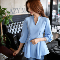 Dabuwawa Ladies Spring Pretty Sky Blue OL Blouse