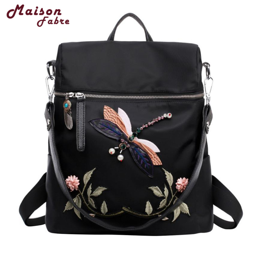 New Backpack Female 1pc Fashion Nylon School Bags Dragonfly Embroidery Practical Functional Travel Female Backpack School Bags