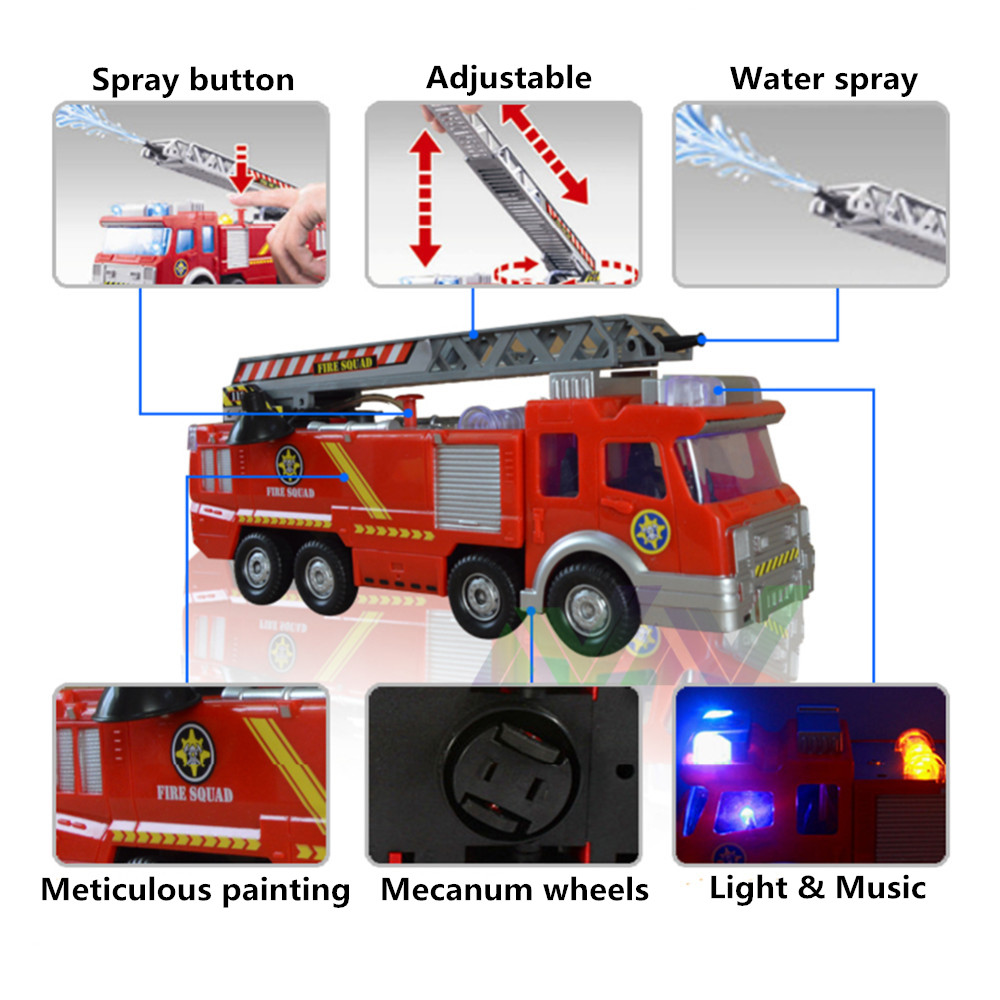 Fire Truck/Engine Music LED 360 Rotation Car Boy Educational Spray Water Gun Toy Fireman Sam Truck Kid Toy Children Baby Vehicle