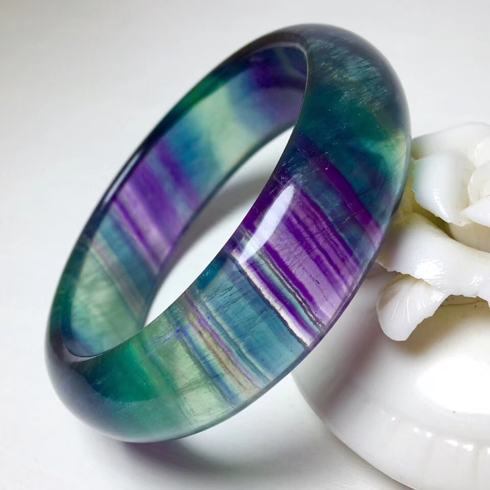 Top Quality Natural Colorful Fluorite Crystal Woman 55mm Bangle Bracelet Bead Lady Fashion Healing Gift Stone AAAAA Certificate