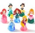 7 pçs/set Hot American Girl Boneca Conjunto Princesa Neve Branco Corajoso Merida Ariel Belle Rapunzel PVC Figuras de Ação Brinquedos Dolls Para crianças