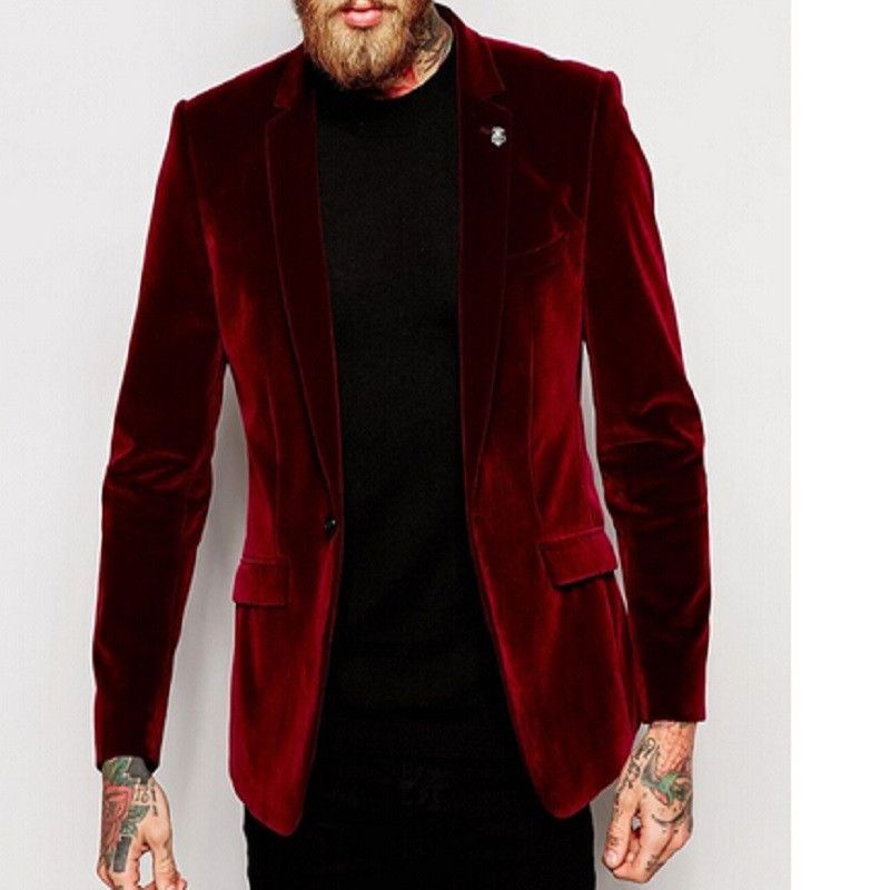 Center Vent Groomsmen Notch Lapel Groom Tuxedos 2017 Red Velvet Jacket With Black Pants Men Suits Wedding Suits For Men Man Suit