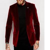 Center Vent Groomsmen Notch Lapel Groom Tuxedos 2017 Red Velvet Jacket With Black Pants Men Suits