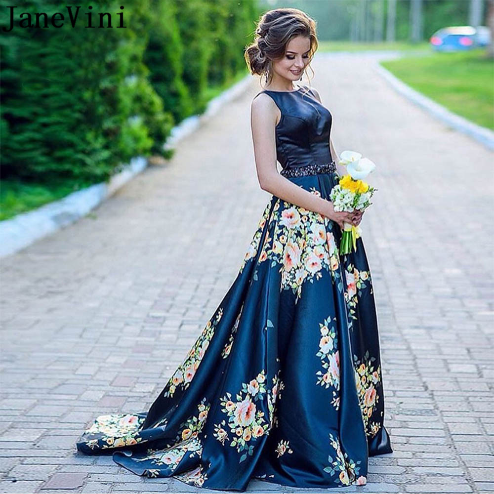 JaneVini 2018 Elegant Floral Print Prom Dresses Backless Beaded Flower Navy Blue Satin Long Bridesmaid Dresses Women Party Wear