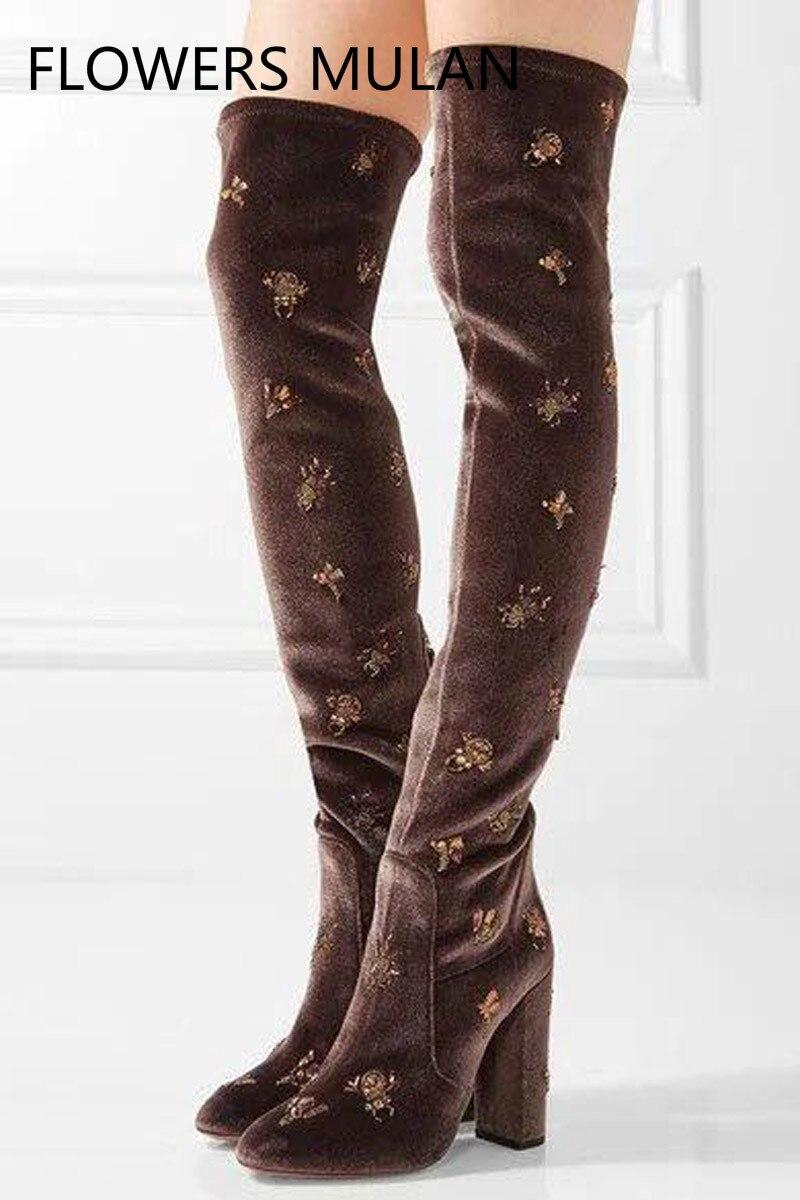 New Women Floral Rhinestone Embroidery Stretch Velvet Slim Leg Thigh High Boots Ladies Chunky High Heels Fall Crystal Long Botas