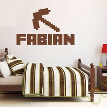 NEW Minecraft Custom Kids Name Removable Vinyl Wall Sticker Decor Nursery Boys Girls Bedroom Wall Stickers