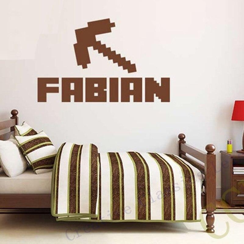 NEW Minecraft Custom Kids Name Removable Vinyl Wall Sticker font b Decor b font Nursery Boys