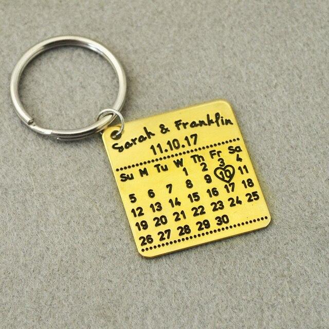 Customized Calendar Keychain,Personalized Key chain, Custom Names&Date, Custom K