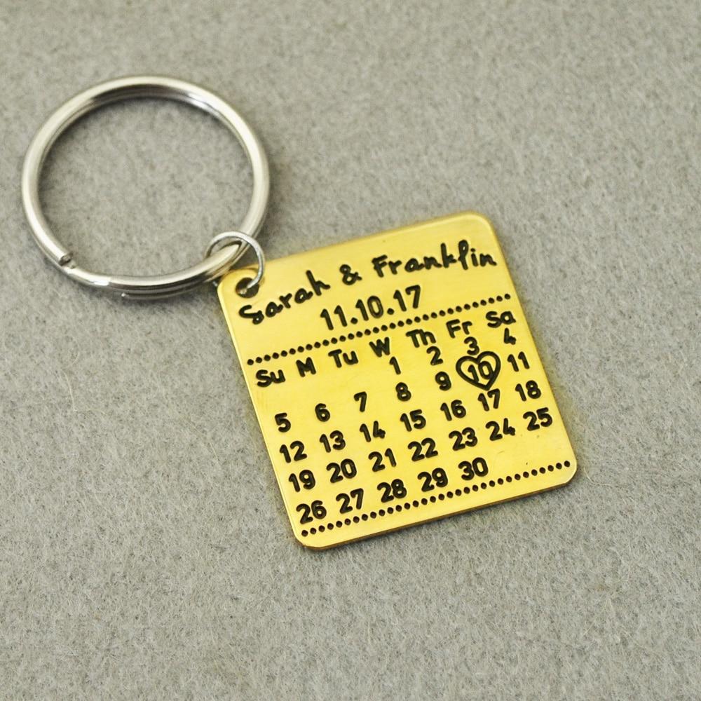 Customized Calendar Keychain,Personalized Key chain, Custom Names&Date, Custom Key Chains,Gifts for Valentines Day
