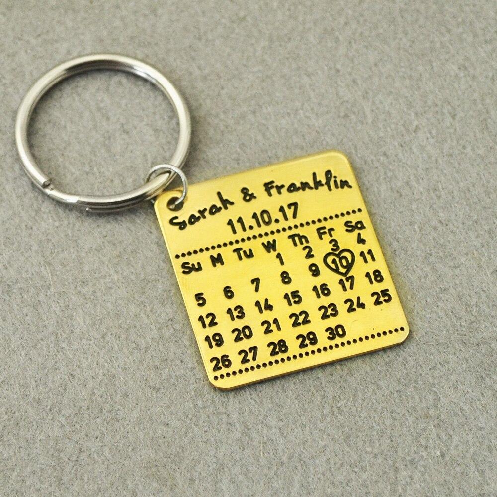 Personalizzato Calendario Keychain, catena Chiave Personalizzata, personalizzati Nomi e Data, personalizzato Portachiavi, Regali per San Valentino