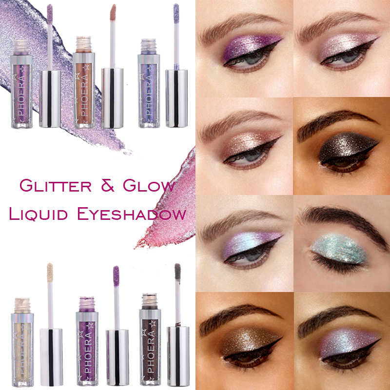 PHOERA โลหะเพชร Palette อายแชโดว์ Pearly กันน้ำ Liquid อายแชโดว์ Glitter Eye Shadow Shimmer แต่งหน้า TSLM2