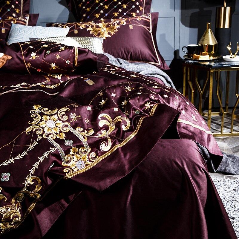 Juego de sábanas de lujo sedoso de algodón egipcio 1000TC juego de sábanas de tamaño Queen King de cama-in Juegos de ropa de cama from Hogar y Mascotas    3