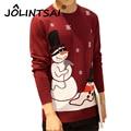 2016 Men'S Fashion Snowman Print Sweater Men Cotton Slim Pull Homme O-Neck Long Sleeve Snowflake Christmas Sweater Men 5XL