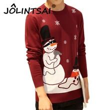 2016 Herrenmode Schneemann Print Pullover Männer Baumwolle Schlank Homme Oansatz Langarm Schneeflocke Weihnachten Pullover Männer 5XL
