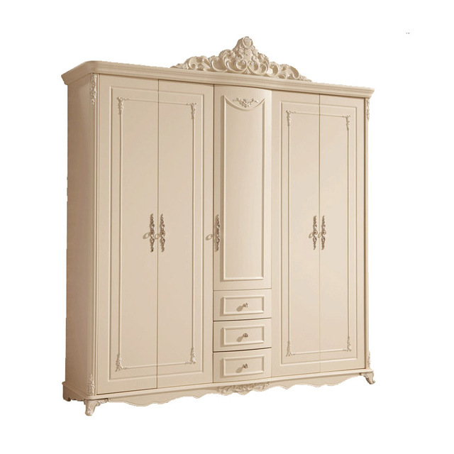 New Bedroom Furniture Solid Wood White Armoire Dresser The Five Door  Wardrobe HK003