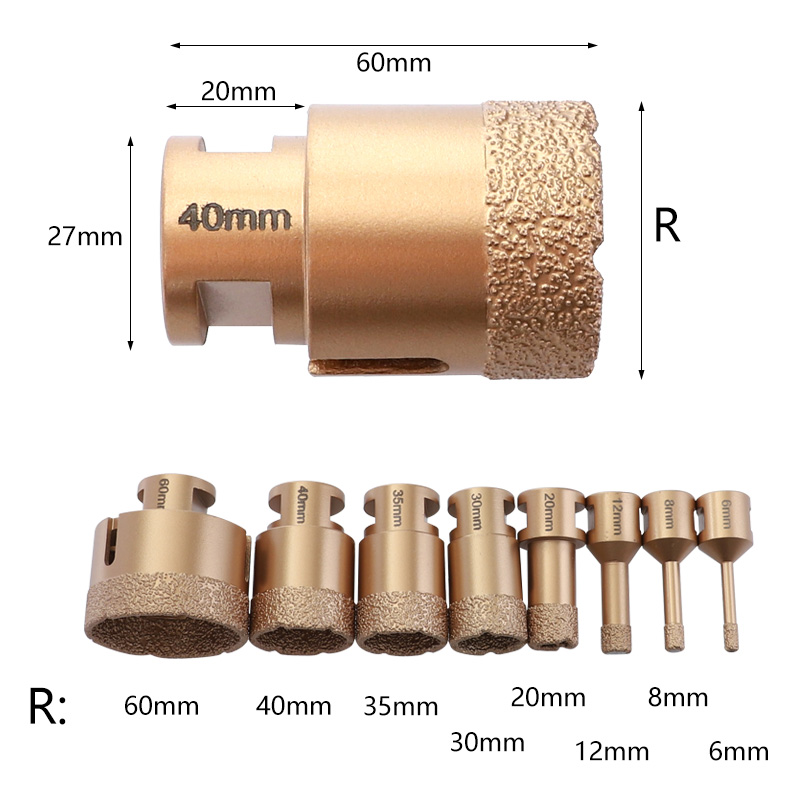 6-70mm Diamond Vacuum Brazed Drill Bits M14 Hole Saw for Marble Tiles Granite Drilling