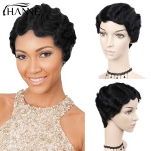 HANNE Hair Brazilian Remy Hair Short Wavy Fringer Wave Parykker For Black Women 100% Human Hair Parykker Pre Plucked Human Hair Paryk 1b #