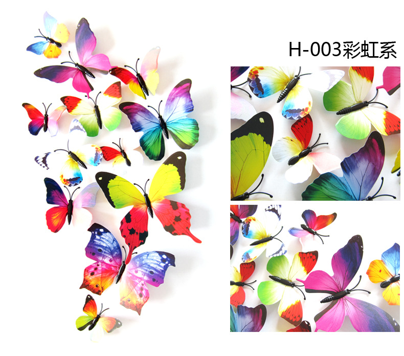 12pcs/lot 3D PVC Wall Stickers Magnet Butterflies DIY Wall Sticker Home Decor Poster Kids Rooms Wall Decoration rysunek kolorowy motyle