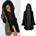 Fashion Women Long  Big Fur Collar Hooded Warm Thick  Outwear Winter Parkas Padded Coat Quilted Jacket 2016